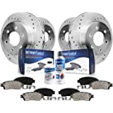 Detroit Axle - 6-Lug Front & Rear Drilled Slotted Disc Rotors Brake Pads Replacement for 2012-2017 Ford F-150 - 10pc Set