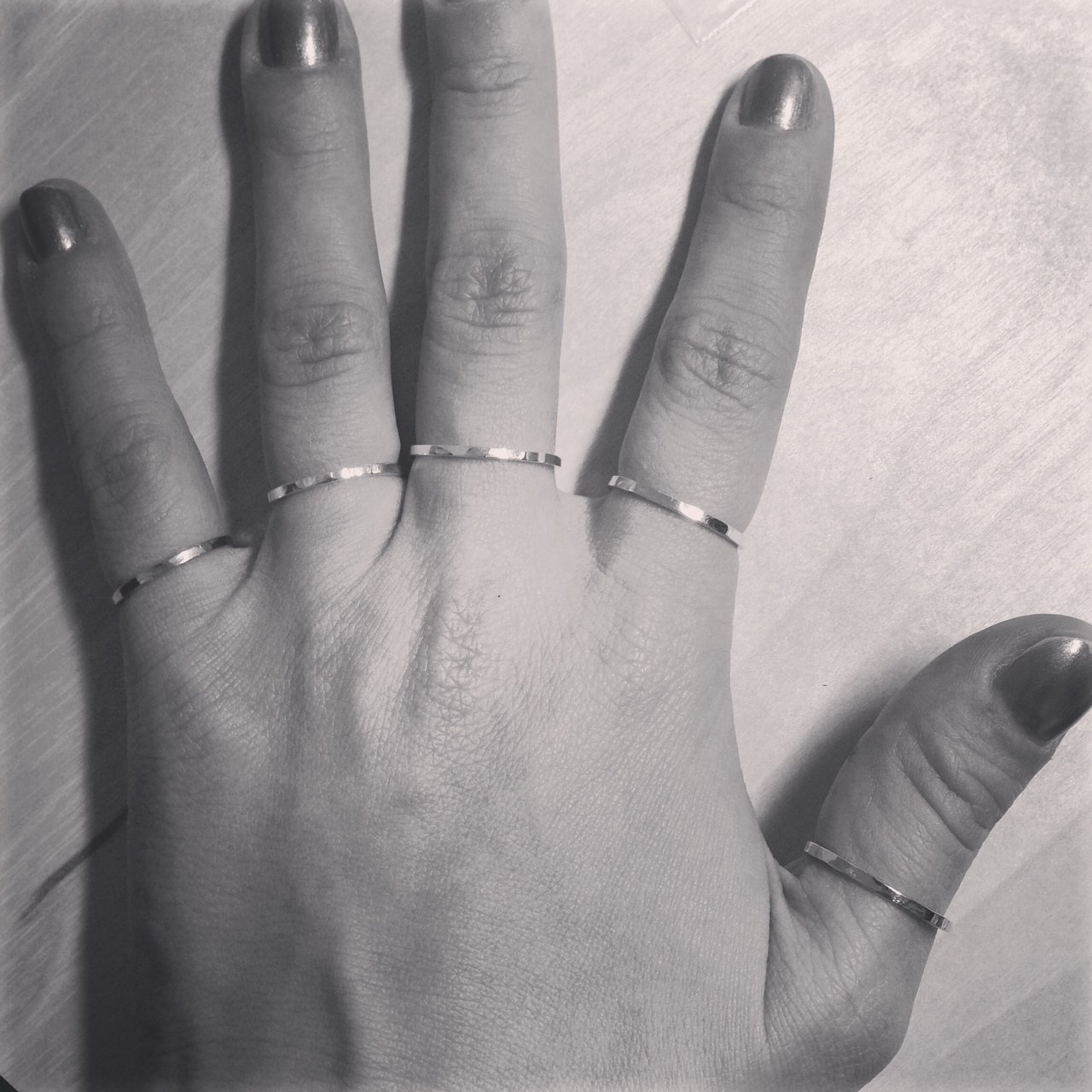 apop nyc Stackable Thin Band Ring Sterling Silver Hammered (6) [Jewelry]