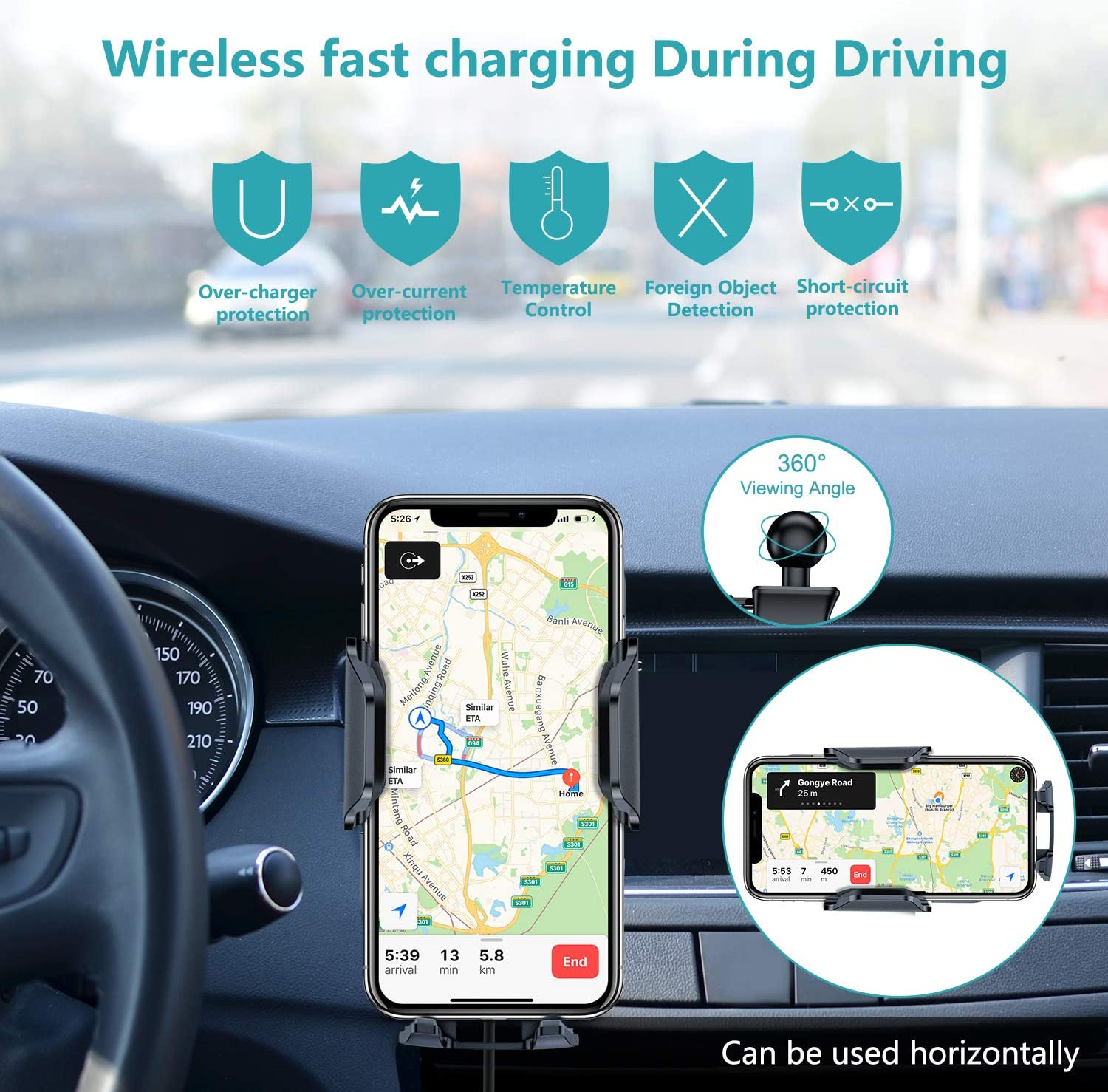 10W Qi Fast Charger VANMASS Car Wireless Charger Mount iPhone Xs Max//Xs//XR//X// 8//8 Plus /& Qi-Enabled Phone Air Vent Phone Holder Auto Charging Compatible with Samsung S10// Note 9//8//S9//S8