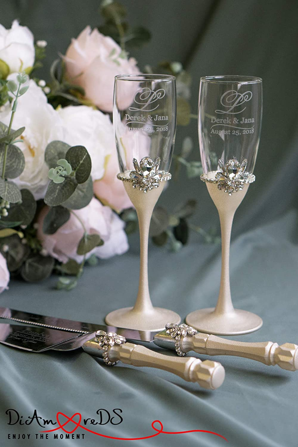 Ivory wedding flutes and cake server set with bling
