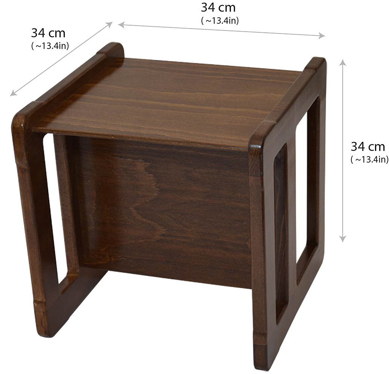 3 in 1 Childrens Multifunctional Furniture Set of 2, One Small Chair or Table and One Large Chair or Table Beech Wood, Dark Stained by Obique Ltd (Image #6)