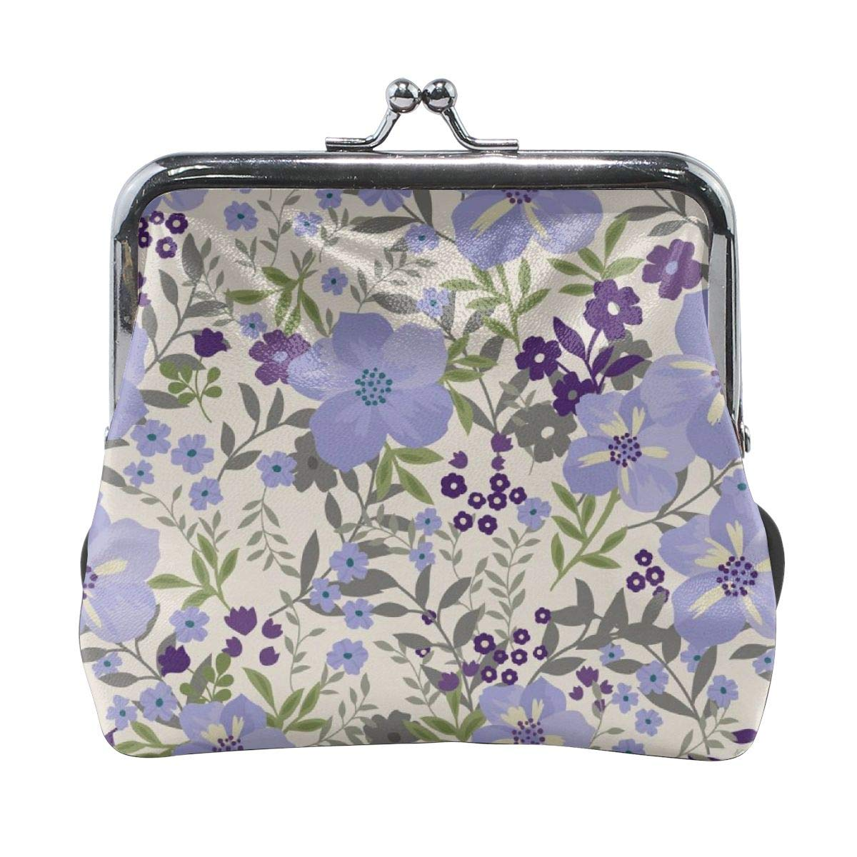 Womens Lavender Floral Buckle Coin Purses Soft Leather Wallet