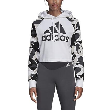 adidas W SID Hood AOP Sudadera, Mujer, Blanco/Negro, 2XL