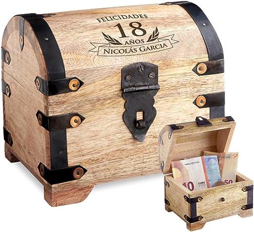 Casa Vivente – Cofre de Madera Clara – para el 18 Cumpleaños – Personalizado – Caja para Regalar Dinero – Regalo Original – Caja de Almacenaje, Hucha o Alhajera - 14 cm x 11 cm x 13 cm: Amazon.es: Hogar