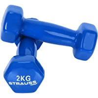 STRAUSS Unisex Adult ST-1519 Vinyl Dumbbell - Blue, 4 x 2 kg