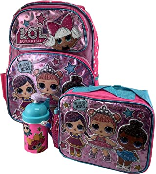 "LOL SURPRISE Large 16/"" inches Backpack /& Lunch Box New Licensed Product Pink"