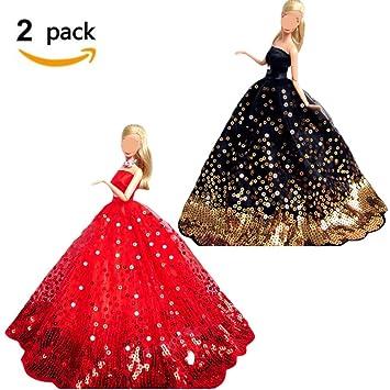 Ropa de muñecas, 2 paquetes Vestido de novia hecho a mano Vestido de fiesta bordado