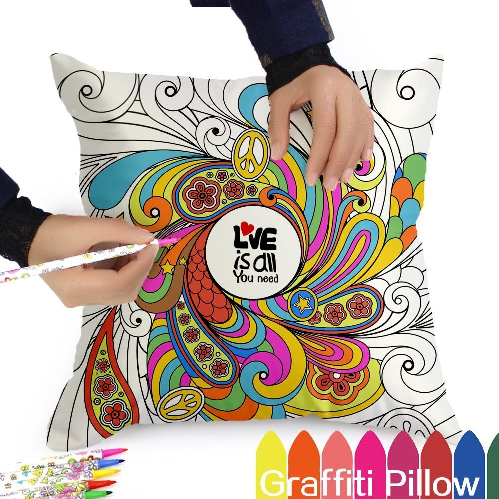 DIY Coloring Pillowcase, 18 Inch Square with A Set of 12 Doodle Color Pens, Creative Gift for Kid by PONTE
