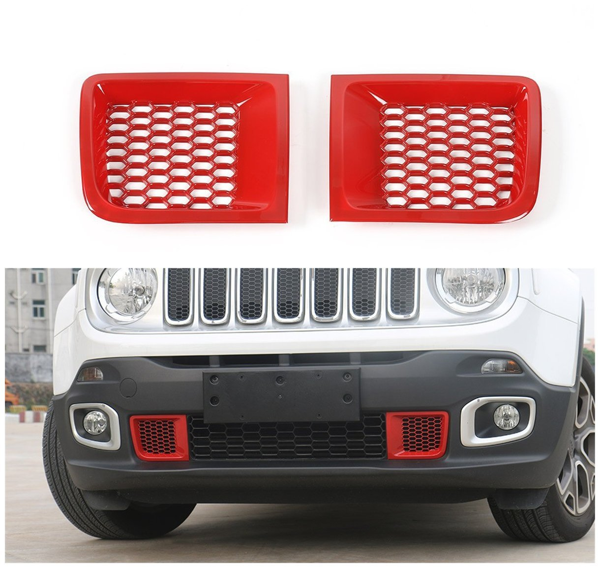Dwindish 2 PCS Red ABS Front Bumper Grill Air Vent Outlet Cover Trim for Jeep Renegade 2015 Up