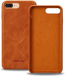 JISONCASE iPhone iPhone 7 Plus Case Genuine Leather iPhone iPhone 8 Plus Hard Back Case Slim Fit Protective Cover Snap on Case for iPhone 7 Plus/iPhone 8 Plus, 5.5inch [Brown]