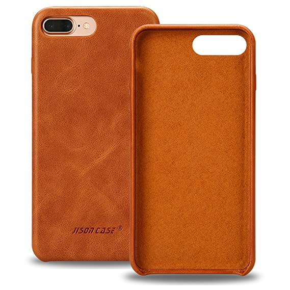 buy popular 75462 78d2d Jisoncase iPhone 7 Case Genuine Leather Hard Back Case Slim Fit Protective  Cover Snap on Case for iPhone 7 [Saddle Brown]-JS-IP7-02A20