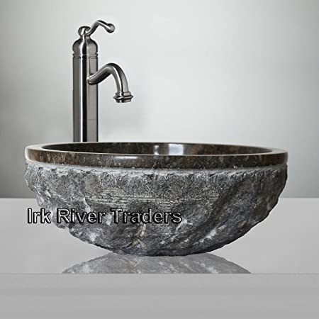 Belgravia Marble Natural Marble Stone Basin Sink Bathroom Cloakroom Vanity  Counter Top Wash Bowl Bath Countertop Handcrafted Deep Round Sink (16