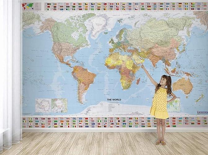 Amazon.com: Murwall Map Wallpaper Political World Map Wall Murals ...