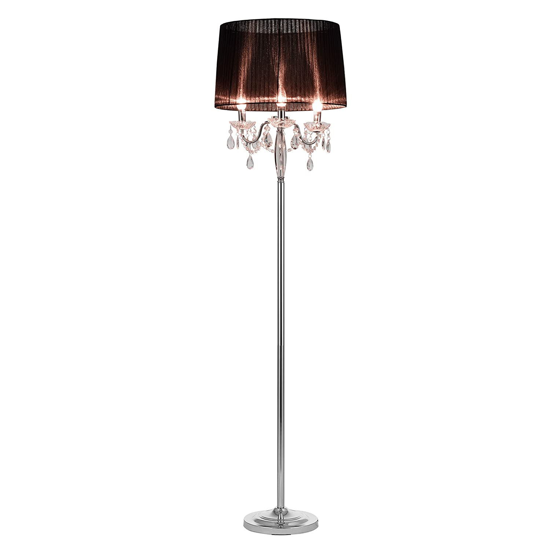 [lux.pro] Lámpara de pie LED estilosa y moderna - 3xE14 / 40W - negro/cromo