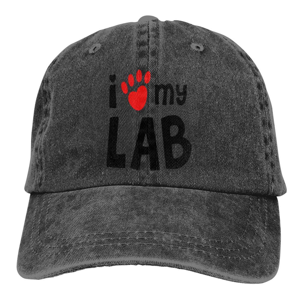 I Love My Lab Labrador Unisex Personalize Jeans Sun Hat Adjustable Baseball Cap