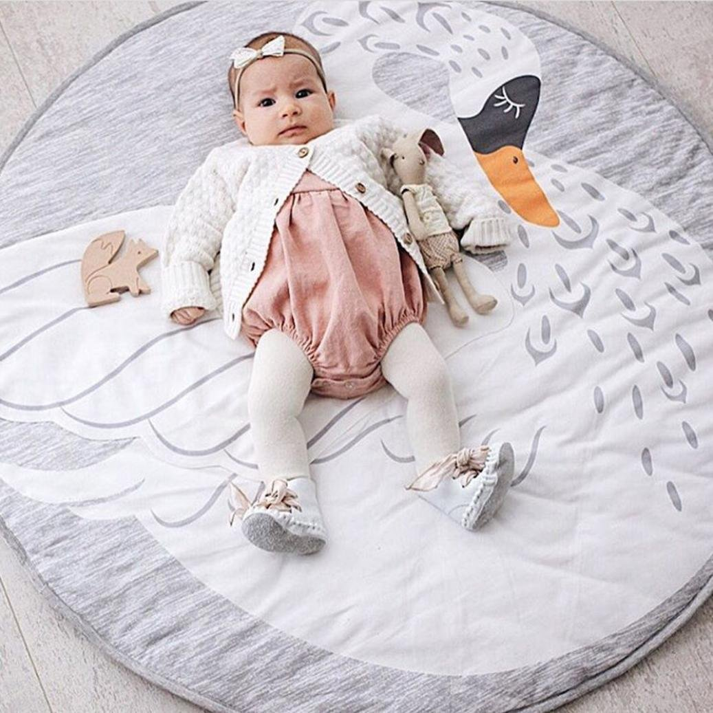 Grey swan autumn-wind Cartoon Creeping Mat Baby Infant Playmat Blanket Play Game Mat Room Decoration Round Crawling Activity Pad Carpet Floor Home Rug Gift