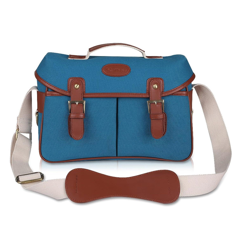 6e6a1e93697c Kattee Fashion PU Leather Canvas DSLR Mirrorless Camera Shoulder Bag for  Canon Nikon
