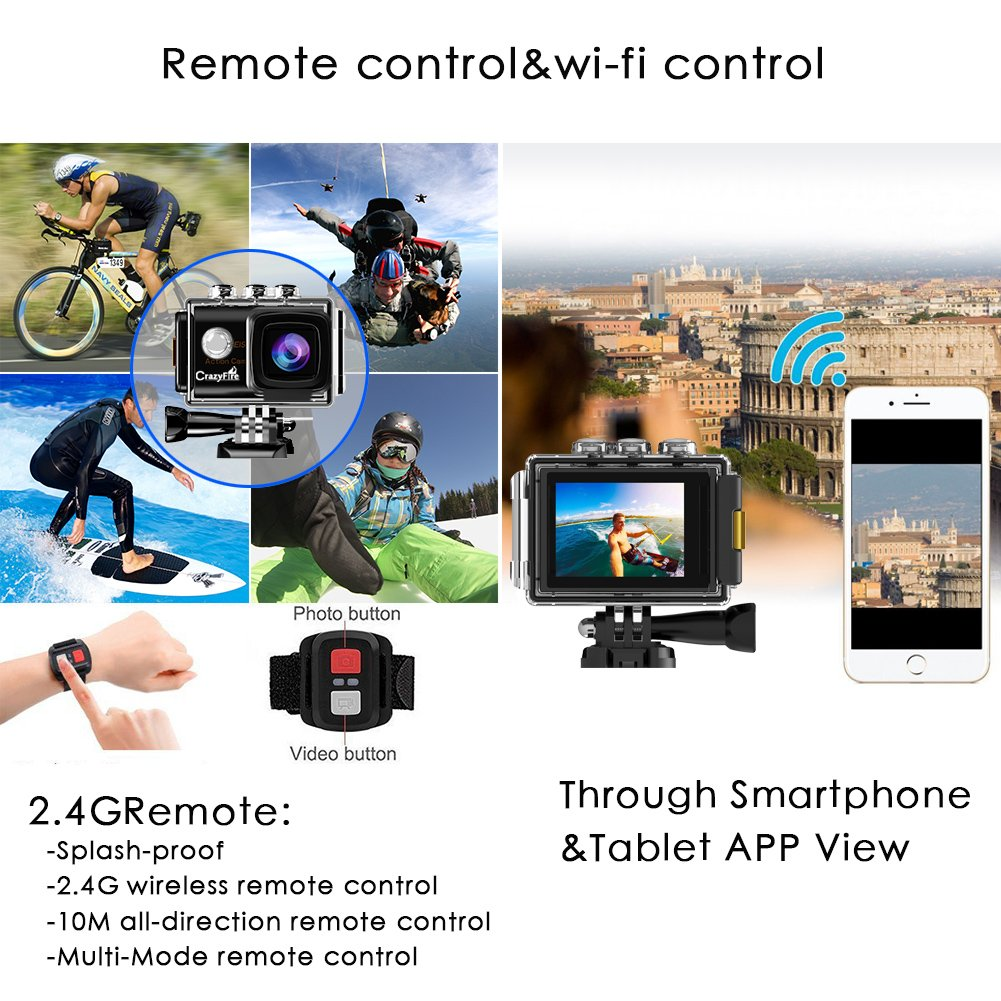 CrazyFire EIS Action Camera 4K 16.0MP HD Waterproof DV Camcorder-170 Degree Wide Angel Wifi and 2.4G Sport Camera with Dual Mic and Travel Bag Include Mounting Accessories Kit by CrazyFire (Image #2)