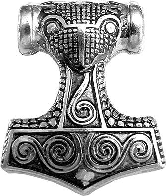 Germanenschmuck Thors Hammer Anhänger für Kette | mit 925 Sterling Silber versilbert, Schonenhammer Kettenanhänger, Thor Hammer Amulett für Kette