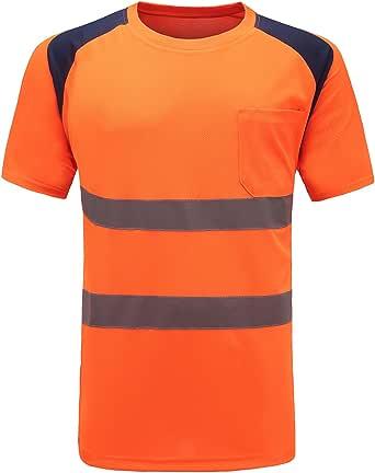 Camiseta Manga Corta de Trabajo, Alta Visibilidad y Cintas Reflectantes Camisetas y Polos de Alta Visibilidad