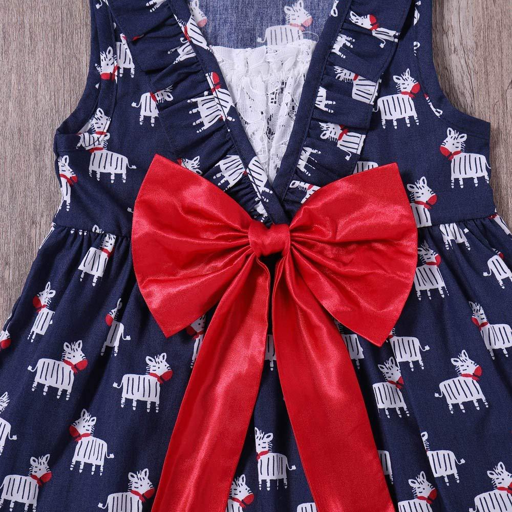 OPAKY Vestido de Niña Floral Bowknot Vestido de la Honda ...