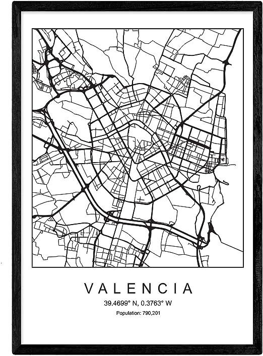 Nacnic Lámina Mapa de la Ciudad Valencia Estilo nordico en Blanco ...