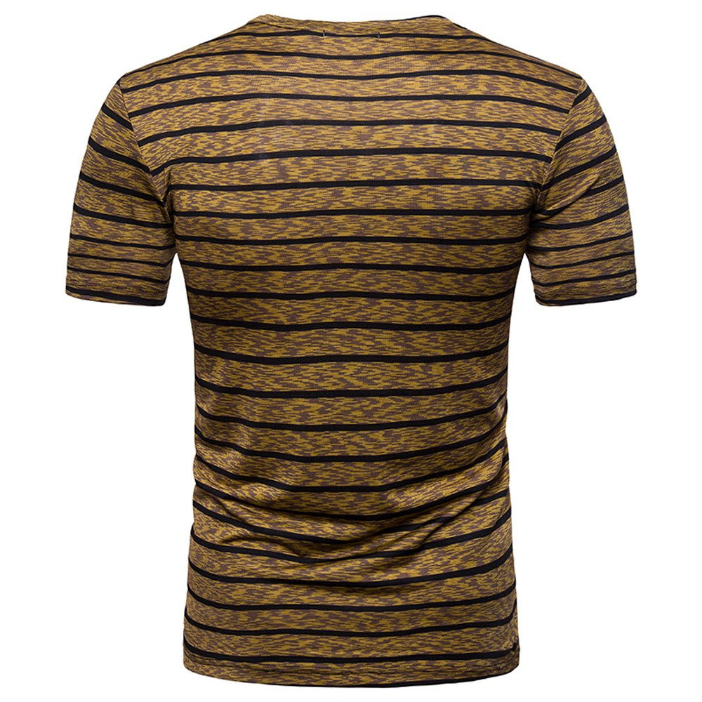 Stripe T Shirts for Men, MISYYA V Neck Polo Shirt Breathable Sweatshirt Muscle Tank Top Masculinity Undershirt Mens Tops Coffee by MISYAA (Image #3)