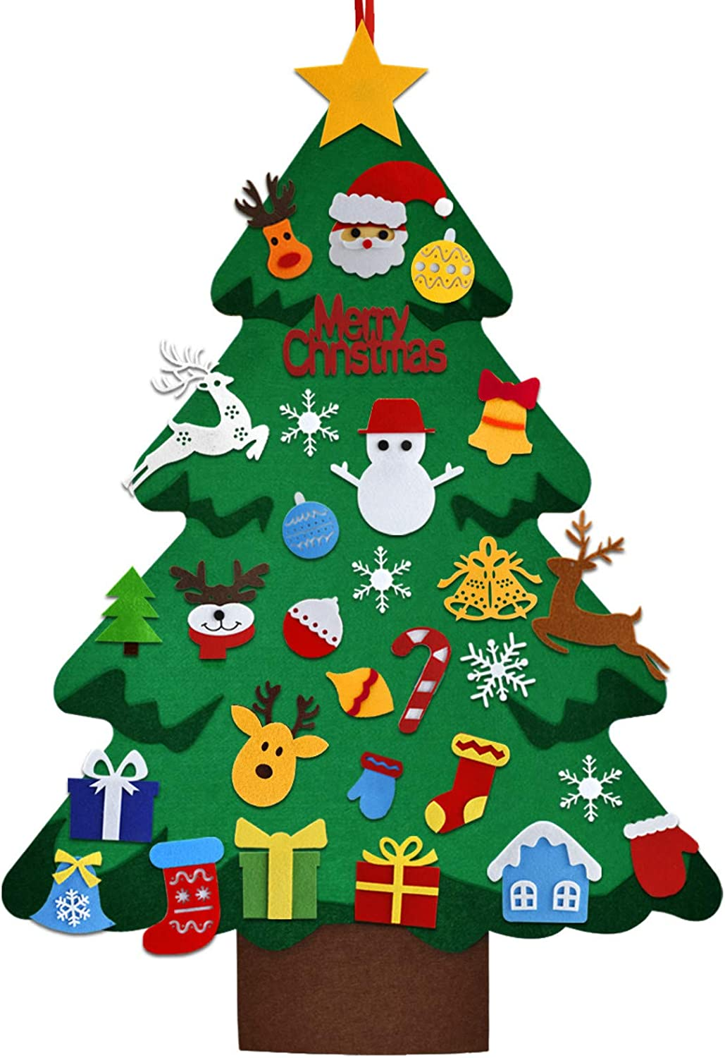 UBEGOOD Felt Christmas Tree for Toddlers, 3.2 FT DIY Christmas Tree Set with 37 Pcs Ornaments, Wall Hanging Xmas Tree Home Office Classroom Door Decorations, Kids Children Gift