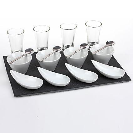 JJA JJ101973 - Juego de bandeja y recipientes para aperitivos (17 piezas)