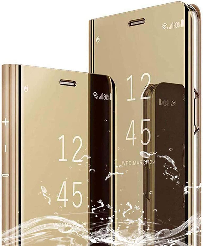Funda para Samsung Galaxy A6 2018,Flip Clear View Translúcido Espejo Standing Cover Slim Fit Anti-Shock Anti-Rasguño Mirror Cubierta,Case de Teléfono para Samsung Galaxy A6 2018