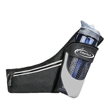AiRunTech Cinturón de Correr para Botellas de Agua Bolsa Deportiva Riñonera Impermeable Running con Bandas Reflectantes