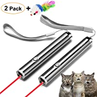 FYNIGO Cat Toys Teaser Wand,Interactive Toys for Cats and Dogs,2 in 1 Function(2 Pack)