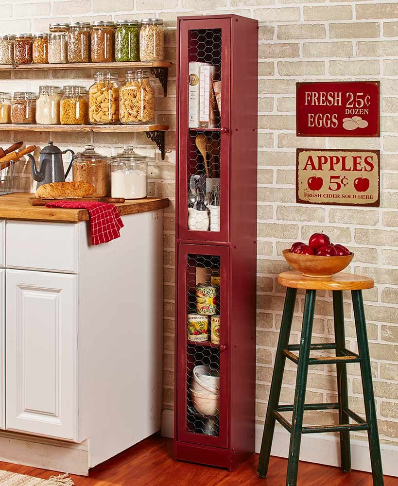 Slim Rustic Country Cabinet Country Red