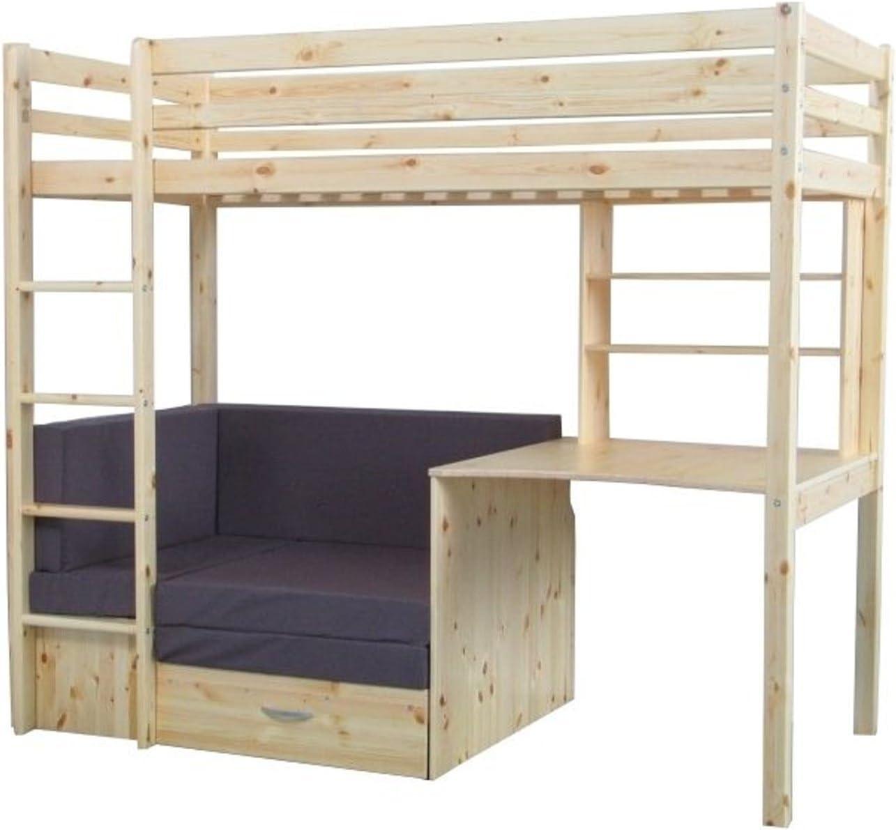 Thuka Bunk Bed 90 X 200 Cm Natural Including Mattress Grey And Sprung Slatted Base Amazon De Kuche Haushalt