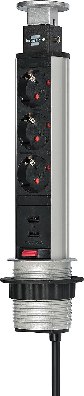 Brennenstuhl Tower Power, Tischsteckdosenleiste 3-fach (Steckdosen-Turm, 2-fach USB, 2m Kabel, komplett in Tischplatte versenkbar) Farbe: alu/schwarz 1396200013