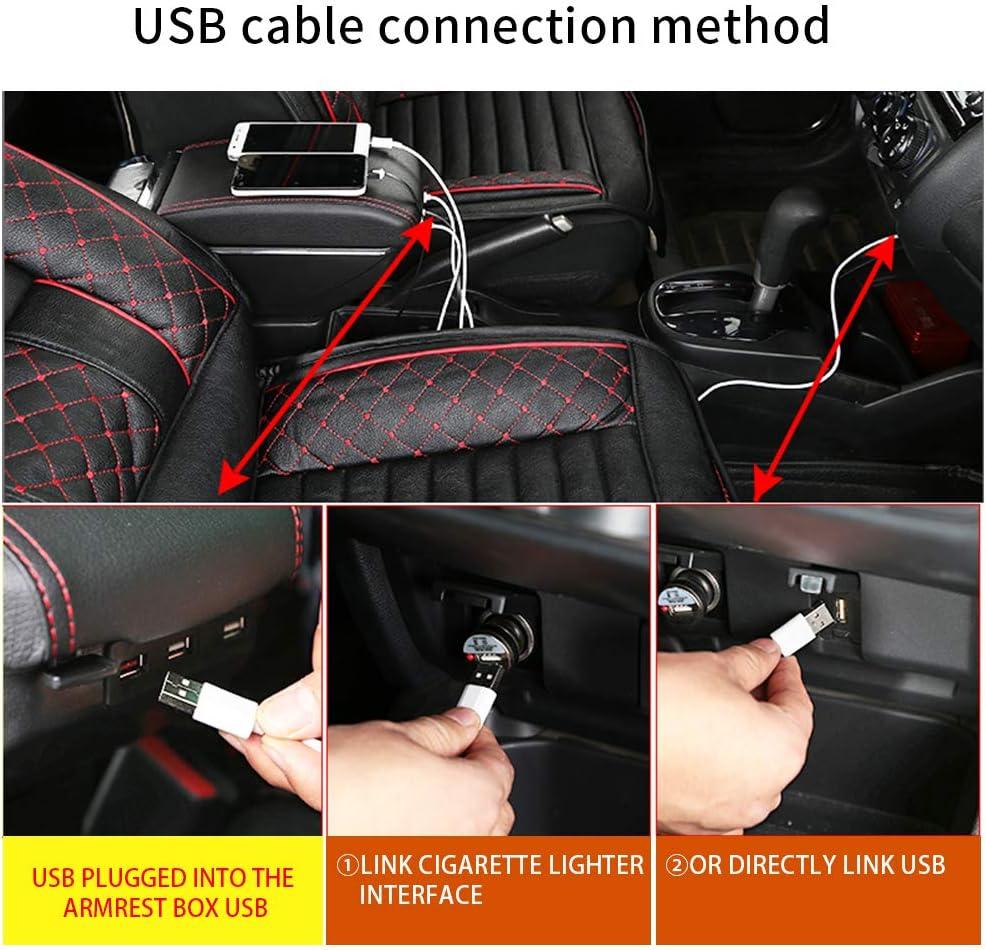 9N//9N3 Console Centrale Auto Supporto in Pelle con Portacenere /& Portabicchieri /& 7 Porte USB Beige Bracciolo Centrale con Vano Portaoggetti per Polo Mk4 2002-2009