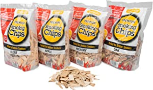 Camerons Smoking Wood Chips Value Pack Gift Set (Apple, Hickory, Oak, Alder)- 4 Pack Variety Pack (~8 lb Total), 260 cu. in. of Coarse Kiln Dried BBQ Chips- 100% All Natural Barbecue Smoker Shavings