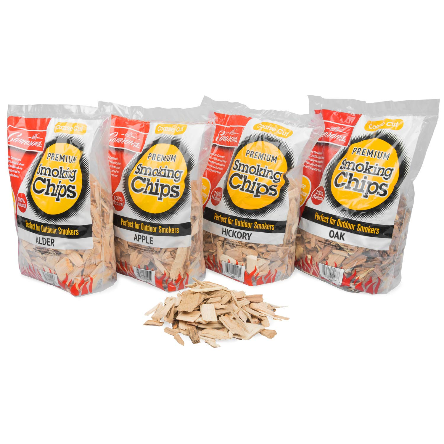 Smoking Wood Chips (Apple, Hickory, Oak, Alder)- 4 Pack Value Gift Set of Coarse Kiln Dried BBQ Chips- 100% All Natural Barbecue Smoker Shavings- 2lb Bag Variety Combo Set by Camerons