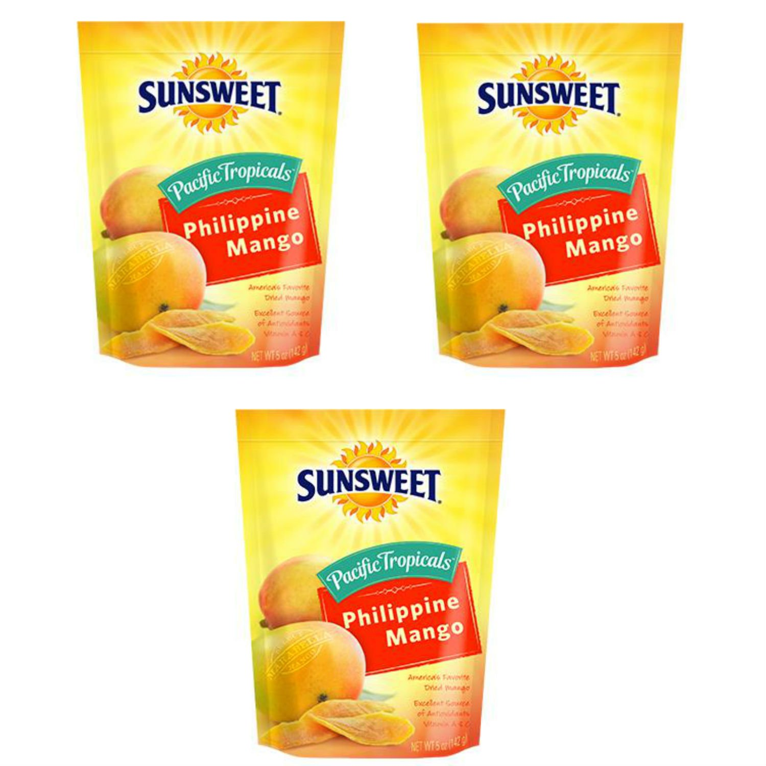 Sunsweet Pacific Tropical Philippine Mangos. 5 Ounce Bags. Pack of 3. Americas Favorite Dried Marabella Mangoes. Sunsweet Dried Fruit is the Perfect Snacking Adventure.
