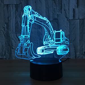 Novelty Excavator 3D Illusion Lamp Led Night Light with 7 Colors Flashing & Touch Switch USB Powered Bedroom Desk Lamp for Kids Gifts Home Decoration