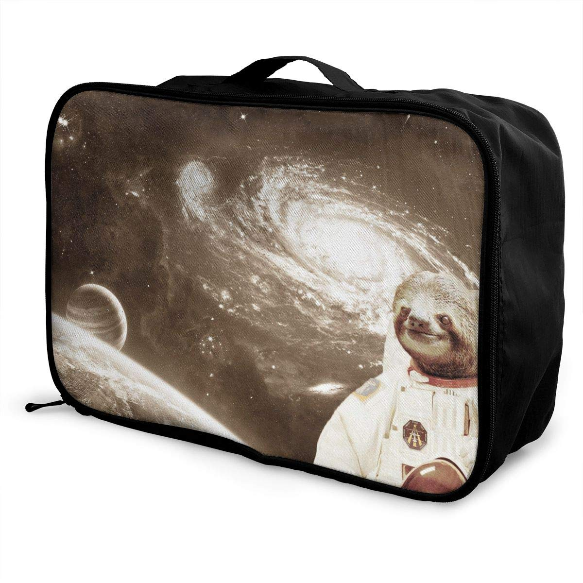 ADGAI Astronaut Sloth in Space Canvas Travel Weekender Bag,Fashion Custom Lightweight Large Capacity Portable Luggage Bag,Suitcase Trolley Bag 2