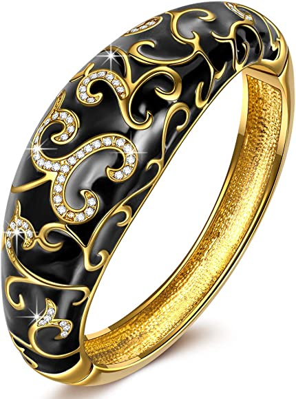 ed2c05d3e9900 ❤ Spring of Versailles ❤ Yellow Gold Plated Handcrafted Bangles with Enamel  Craft 7.5