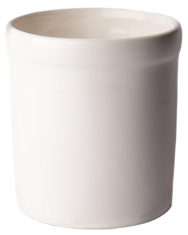 American Mug Pottery Ceramic Utensil Crock Utensil Holder, Made in USA, White