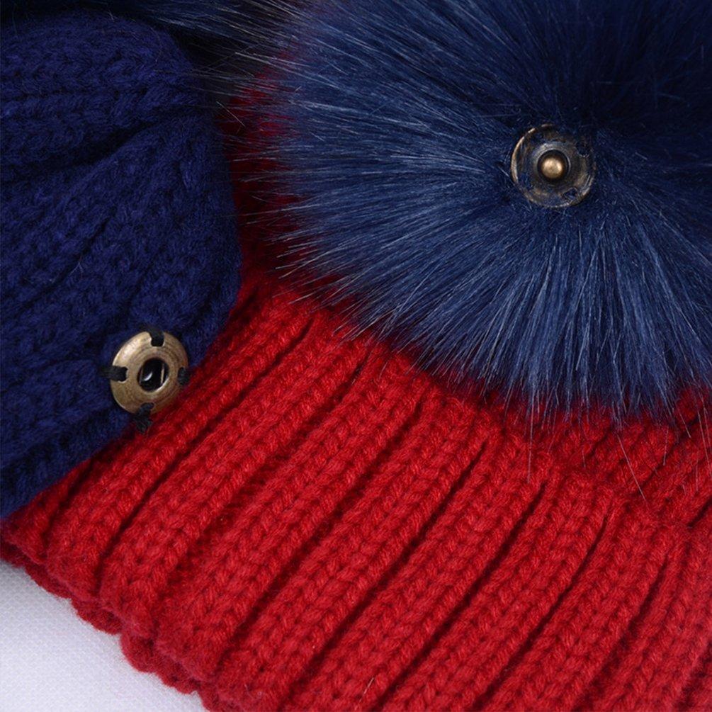 TLAENSON Womens Warm Winter Ribbed Knit Faux Fur Bobble Hat Double Pom Pom Beanie