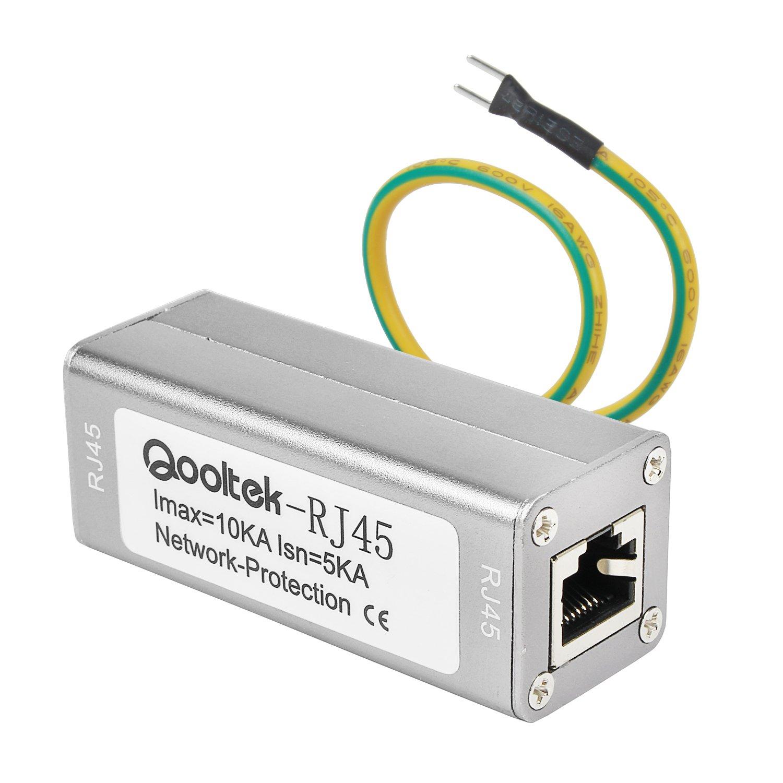 Qooltek ST-NET Ethernet Surge Protector for 10/100/1000 Base-T PoE+ Gigabit Modem Thunder & Lighting Protection ST-RJ45 by Qooltek