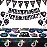Set of 112Pcs Tik Tok Party Decorations and Birthday Supplies Includes Balloons Kit Gags Plates and Napkins package for Girls