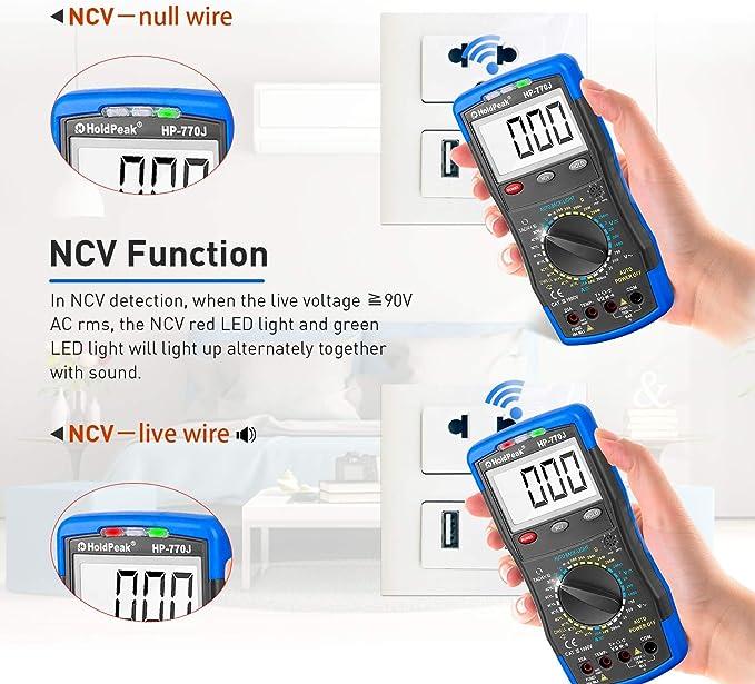 Ohmmetro Amperometro DC Rileva Tach//RPM Dwell Amp Ohm Volt e Temperatura con LCD Retroilluminazione Multimetro Digitale HP-770J Multimetro NCV a Portata Manuale,Voltmetro AC DC