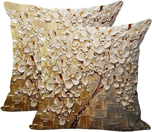JOTOM - Funda de cojín de lino y algodón suave, 2 unidades, diseño de árbol, 45 x 45 cm: Amazon.es: Hogar