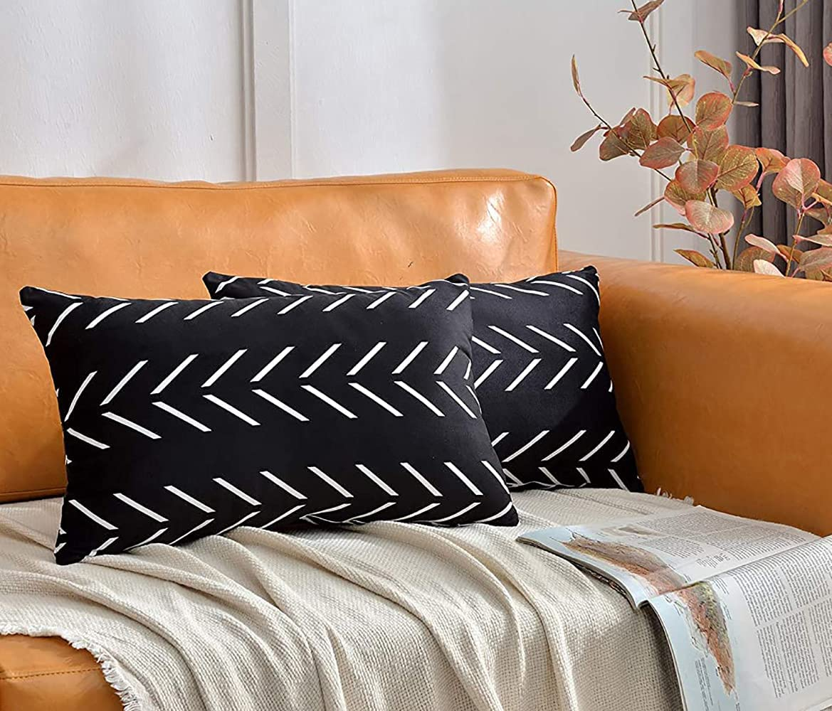 DWDC Velvet Pillow Covers 12X20 inch Pack of 2 Black Lumbar Pillowcase White Arrows Print Blend Decorative Soft Solid Throw Pillow Covers Sofa Cushion Cases