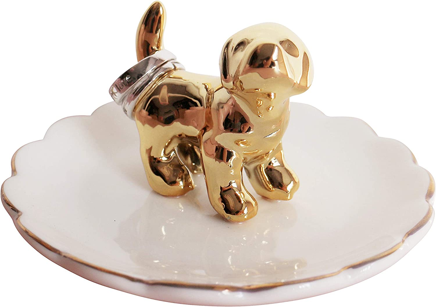 Luxury Porcelain Adorable Dog Ring Holder, Ceramic Jewelry Tray, Bracelets Plate, Dessert Dish - Perfect for Holding Small Jewelries, Rings, Necklaces, Earrings, Bracelets, Trinket etc.